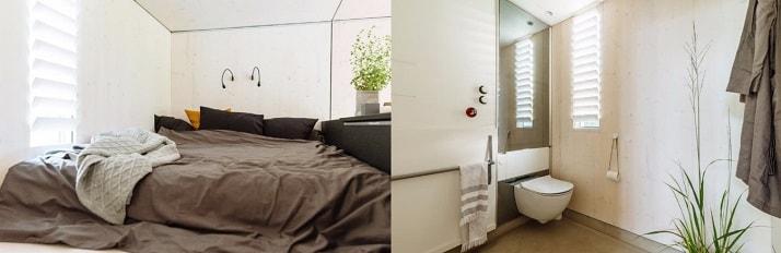 Dormitorio y baño de la casa prefabricada Koda
