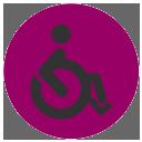 Casa accesible. Icono para discapacidad motora