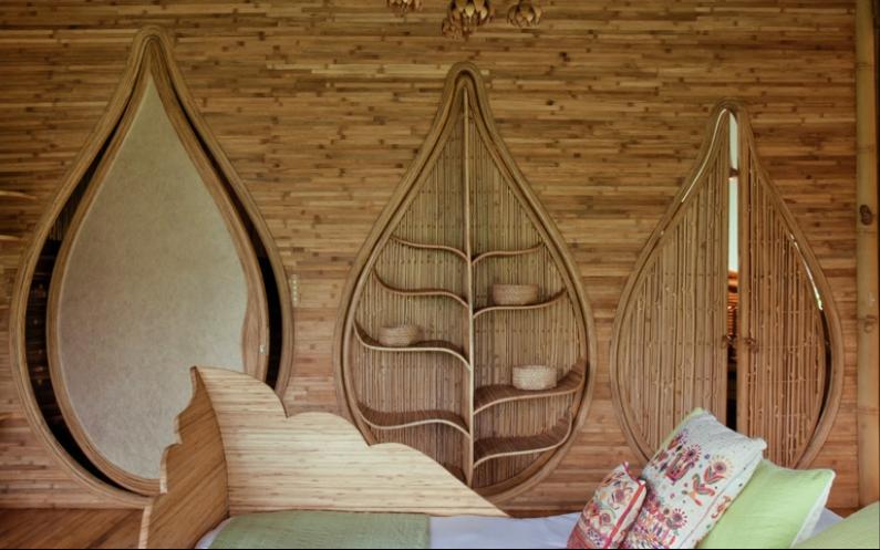 puertas de casas de bambú